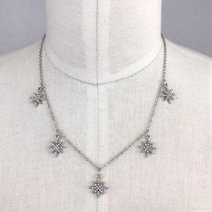 Five Delicate Silver Stars Necklace Sparkle